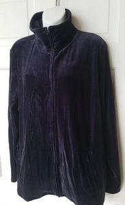 Talbots Velvet Deep Purple Zip up Jacket